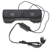 New Mini Portable USB Stereo Speaker for Notebook Laptop PC with Clip Black