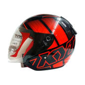KYT DJ Maru #14 Helm Half Face - Black/Orange Fluo/Red Fluo