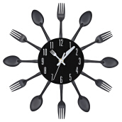 Multi-color Fork Spoon Kitchen Cutlery Wall Clock Home Decoration