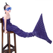 139 X 37 X 2 CM Charming Cartoon Animal Mermaid Pattern Blanket -Purple