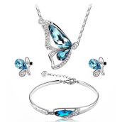 [Kingstore]Butterfly Jewelry Set Necklace Earring Bracelet Crystal Plated Set Jewelry