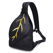 Embroidery Zipper Faux Leather Backpack