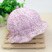 Spring Autumn Floral Print Baby Girls Sun Protection Hat PINK
