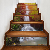 3D Waterfall Stair Stickers Home Decor 7.1 x 39.4 inch 6pcs Multicolor