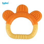 BOBEIELEPHANT Silicone Teething Pacifier Babies Teether(Orange-Yellow Bell)
