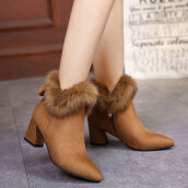 Sexy Brown Solid Flock Boots