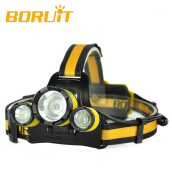 BORUiT Micro USB Headlamp Upgraded RJ-3000 Plus XM-L T6 LED White light 3 LED 4 Modes Micro Rechargeable Headlamp Yellow