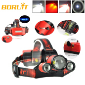 BORUIT B22 Rechargeable Zoom XM-L2+2X XPE Red LED Hunting Headlamp Micro USB Headlight Torch camping fishing Red