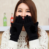 Detachable Three Using Way Knitting Wool Thick Warm Touch Screen Gloves