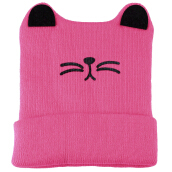 Cute Baby Child Cartoon Animal Cat Shape Autumn Winter Flanging Hat WATERMELON RED