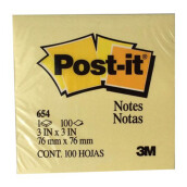 POST-IT Sticky Notes 654 Yellow 3