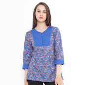 Mobile Power Ladies Tunic Floral Combination - Blue L8332