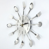 Modern Stainless Steel Knife Fork Wall Clock Analog for Home Office
