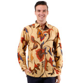 DANAR HADI Mens Long Sleeve Batik LKRB5 - Cream
