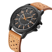 HANNAH MARTIN Men's Leather Strap Watch 1601
