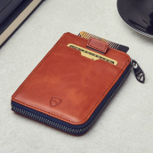 VAULTSKIN NOTTING HILL Slim Zip Wallet with RFID Protection - Cognag Brown