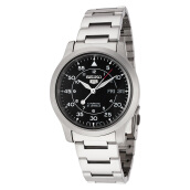Seiko 5 Automatic 21 Jewels Black Military Stainless Steel Bracelet [SNK809K1] Silver