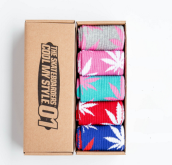 Cool My style CS-2 California skate city Maple leaf socks(about 19cm) five pairs in one set-five colors
