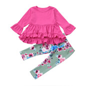 BESSKY  Kids Baby Girl Floral Outfits Irregular Shirt Top Dress+Long Pants Set Clothes _