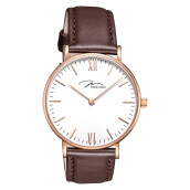 Jonas Verus Ladies Quartz Watch White Dial Brown Leather Strap [X01646-Q3.PPWLZ]