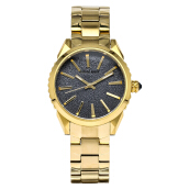 SWISS NAVY Ladies Black Glitter Dial Gold Stainless Steel [8336LGPBK]