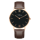 Jonas Verus Minimalist Collection Men Black Dial Brown Leather Strap [Y01646-Q3.PPBLZ]