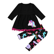 BESSKY Rainbow Horse Kids Baby Girls Outfits Clothes T-shirt Top Dress+Long Pants Set_
