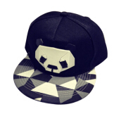 BAI B-337 Adjustable Baseball Cap MBL Hiphop cap with The Panda design-Black