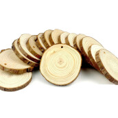 BESSKY 15 Pieces 8-9cm Unfinished Predrilled Wood Slices Round Log Discs With_ Brown