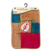 ARNOLD CARDEN Wool Handtuft Mat - White and Red Leaf / 45x65cm