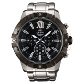 Orient Sport Chronograph Men Watch Black Dial Stainless Steel [FTW03001B] Silver