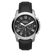 Fossil Grant Chronograph Black Leather Strap [FS4812]