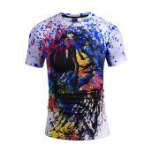 SESIBI 3D T Shirts Men's Summer Printing Tees -The Lion's Mounth -