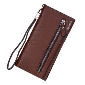 BESSKY Men Long Section Zip Bifold Business Leather Wallet Card Coin Wallet Purse_