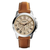 Fossil Grant Beige Dial Men Chronograph Leather Strap [FS5118]