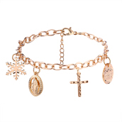 Cross Alloy Pendant Bracelets Golden