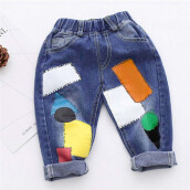 BESSKY Toddler Kids Baby Girls Boys Printing Denim Loose Jeans Stretchy Pants Trousers _