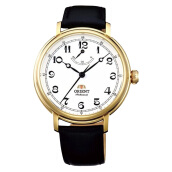 Orient Monarch Gold White Dial Black Leather Strap [FDD03001W] Black