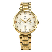 Alba Ladies Silver Dial Gold Stainless Steel Strap [AP6534X1]