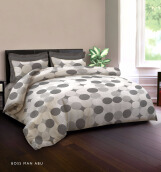 KING RABBIT Bed Cover & Set Seprei Sarung Bantal Queen Motif Boss Man - Abu - 160x200x30 cm
