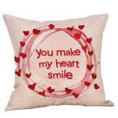 BESSKY Happy Valentine Pillow Cases Linen Sofa Cushion Cover Home Decor Pillow Case_ Multicolor