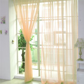 BESSKY 1 PCS Pure Color Tulle Door Window Curtain Drape Panel Sheer Scarf Valances_ Orange