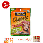 PRONAS Corned Beef Chili 50 gr x 3pcs - Free PRONAS Beef Cheese 50 gr x 3pcs