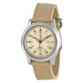 Seiko 5 Automatic 21 Jewels Beige Military Nylon Strap [SNK803K2]