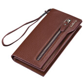 BESSKY Mens Zipper Long Leather ID Card Holder Billfold Zip Purse Wallet Handbag_