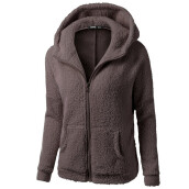 BESSKY Women Hooded Sweater Coat Winter Warm Wool Zipper Coat Cotton Coat Outwear_