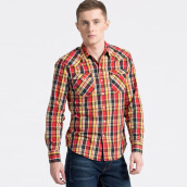 LEVI'S Barstow Western Tambour Cherry Bomb Plaid - Red
