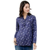 Tunic Floral Motif Navy Blue Mobile Power Ladies - K8362