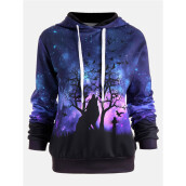 BESSKY Women Wolf Digital Printing Hoodie Sweater Holloween Baseball Coats Sweats_