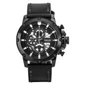 SWISS NAVY Chronograph Men Black White Skeleton Dial Black Leather Strap [6811MABBK]